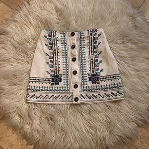 Francescas blue rain embroidered skirt